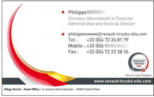 cartes de visite Renault Trucks